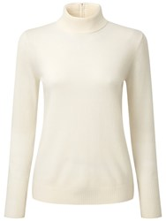 Pure Collection Adelina Cashmere Ripple Polo Jumper Soft White