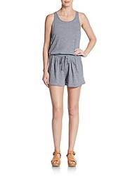 Candc California Racerback Drawstring Romper Heather Grey