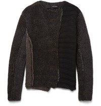 Isabel Benenato Panelled Knitted Sweater Brown