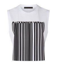 Alexander Wang Cropped Barcode Print Sleeveless Top Female White