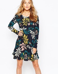 Vila Retro Flower Skater Dress Totaleclipse