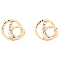 Karen Millen Swarovski Crystal Ribbon Stud Earrings Gold