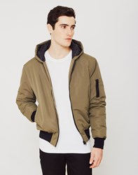 The Idle Man Hooded Bomber Jacket Green