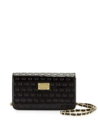 St. John Logo Embossed Patent Wallet On Chain Black Gold