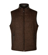 Corneliani Reversible Wool And Suede Gilet Male Brown