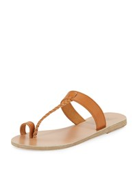 Ancient Greek Sandals Melpomeni Toe Ring Leather Sandal Camel Women's
