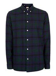 Selected Homme Green And Blue Check Cotton Shirt