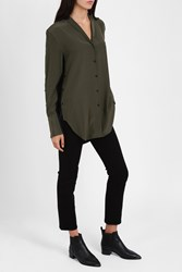 Rag And Bone Silk Side Button Shirt Khaki