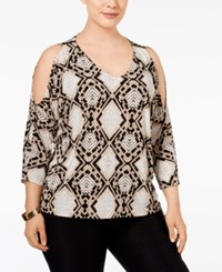 Inc International Concepts Plus Size Cold Shoulder Dolman Top Only At Macy's Snake Stain