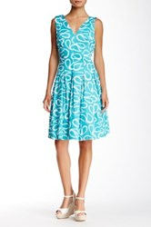 Anne Klein Printed Double V Neck Fit And Flare Dress Blue