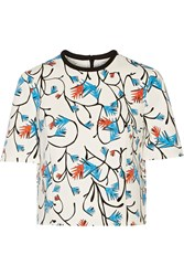 Tanya Taylor Bora Printed Tech Jersey Top White