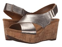 Clarks Caslynn Shae Gold Metallic Leather Women's Wedge Shoes