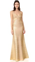 Herve Leger Halter Long Dress Gold Combo