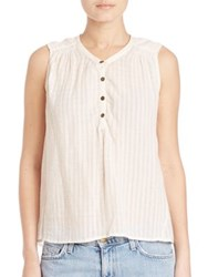 Current Elliott Camilla Sleeveless Gauze Blouse Dirty White