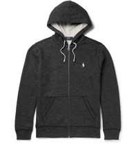 Polo Ralph Lauren Fleece Back Cotton Blend Zip Up Hoodie Gray