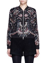 Needle And Thread 'Cinder Lace' Floral Embellished Georgette Bomber Jacket Multi Colour