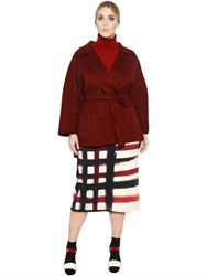 Marina Rinaldi Double Breasted Belted Wool Peacoat