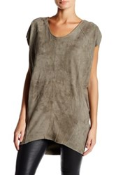 Muubaa Shelby Genuine Suede T Shirt Tunic Gray