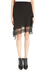 Women's Givenchy Scalloped Lace And Silk Asymmetrical Skirt