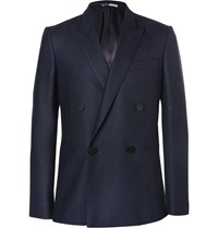 Paul Smith Navy Double Breasted Wool Blazer Blue