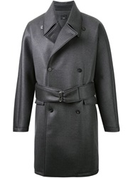 Thamanyah Waxed Effect Trench Coat Grey