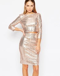 Tfnc All Over Sequin Crop Top With Long Sleeves Nudesequin
