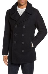 Schott Nyc Men's Embroidered Wool Blend Peacoat Navy