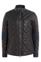 Etro Quilted Leather Jacket With Fabric Patches Black