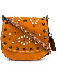 Coach Embellished Saddle Bag Nude And Neutrals