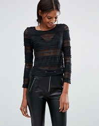 Goldie Lacey Love Striped Lace Top Black