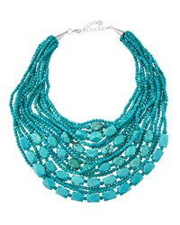 Nakamol Turquoise Hued Beaded Statement Necklace Women's