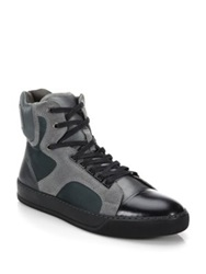 Lanvin Satin Classic Leather And Rubber High Top Sneakers Grey Black