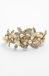 Women's Nina 'Hallie' Faux Pearl And Crystal Bracelet Ivory Pearl Clear Gold