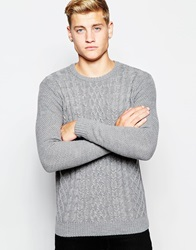 New Look Cable Knit Jumper With Crew Neck Grey