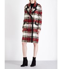 Burberry Tartan Wool And Mohair Blend Coat Elderberry