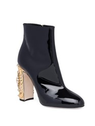 Dolce And Gabbana Clock Heel Patent Leather Booties Black Gold