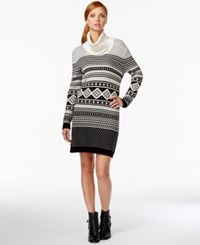 Tommy Hilfiger Printed Cowl Neck Sweater Dress Snow White Black