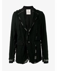 Miharayasuhiro Wool Layered Single Breasted Blazer Black Denim