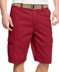 American Rag Belted Relaxed Cargo Shorts Sunset Red