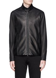 Theory 'Vash L' Sheepskin Leather Jacket Black