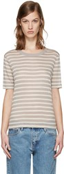 Alexander Wang T By Beige And Taupe Striped T Shirt