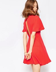 Asos Tea Dress With Open Back Coral Orange
