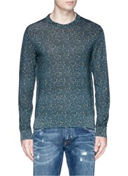 Dolce And Gabbana Floral Print Silk Sweater Green