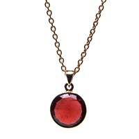 Puck Wanderlust Gold January Birthday Charm Necklace Garnet Red Gold