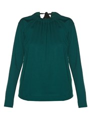 Marni Tie Back Cotton Jersey Blouse Green
