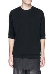 3.1 Phillip Lim Hem Insert Cotton Short Sleeve Sweatshirt Black
