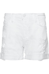Current Elliott Distressed Denim Shorts White