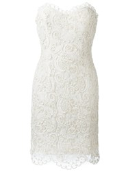 Chanel Vintage Strapless Lace Dress Nude And Neutrals