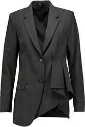 Theory Jester Asymmetric Ruffled Woven Blazer Dark Gray