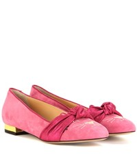 Charlotte Olympia Eccentric Kitty Suede Ballerinas Pink